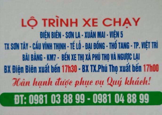 Xe khách Phú Thọ - Điện Biên