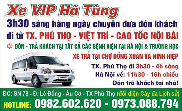 Nhà xe Hà Tùng, thị xã Phú Thọ