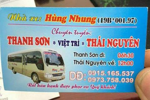 Nhà xe Hùng Nhung (Thanh Sơn - Thái Nguyên)