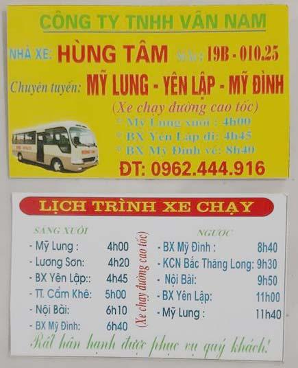 Nhà xe Hùng Tâm: Yên lập - Hà Nội