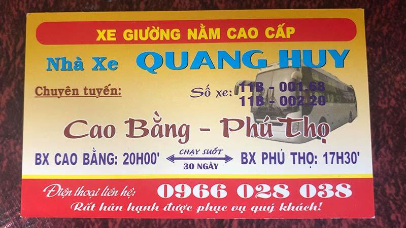 Nhà xe Quang Huy (Cao Bằng - Phú Thọ)