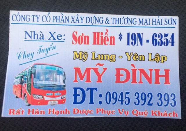 Xe khách Sơn Hiền (Yên Lập - Hà Nội)