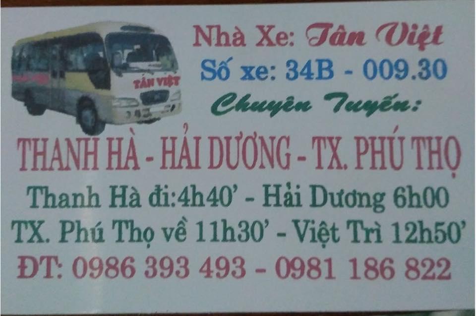 Nhà xe Tân Việt - Hải Dương - Phú Thọ