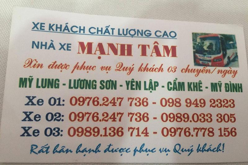 Nhà xe Mạnh Tâm, Yên Lập - Hà Nội