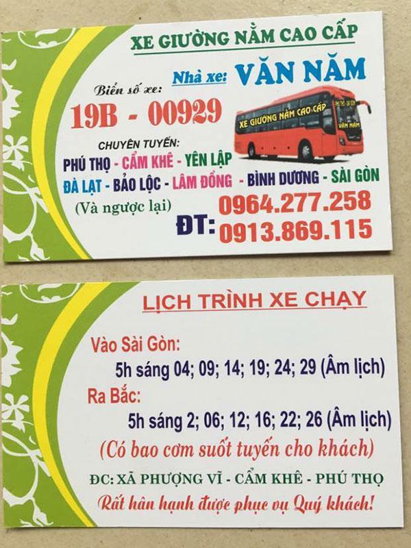 Xe Khách Văn Nam - Yên Lập, Cẩm Khê, Phú Thọ đi Sài Gòn
