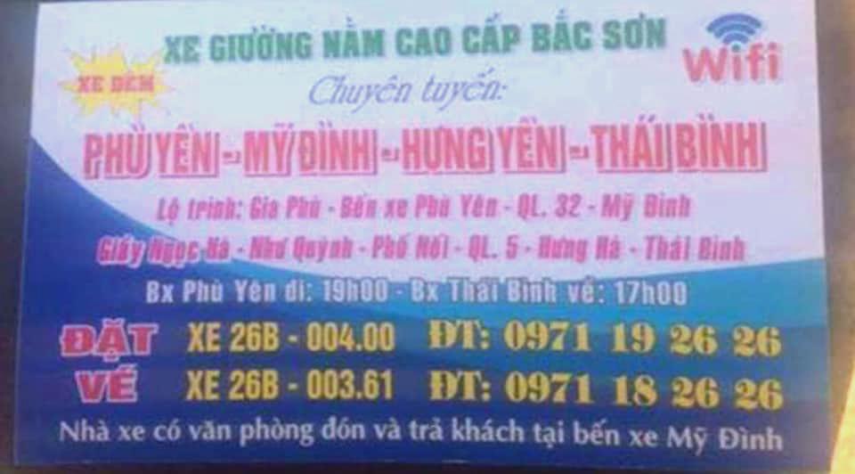 Nhà xe Bắc Sơn (Sơn La - Phú Thọ - Hà Nội - Thái Bình)