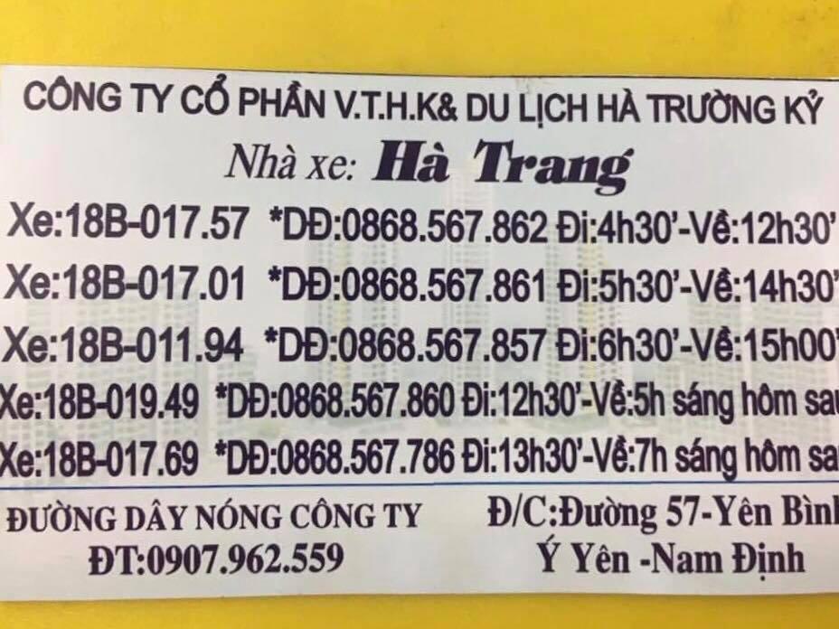 Nhà xe Hà Trang (Nam Định - Thanh Ba)