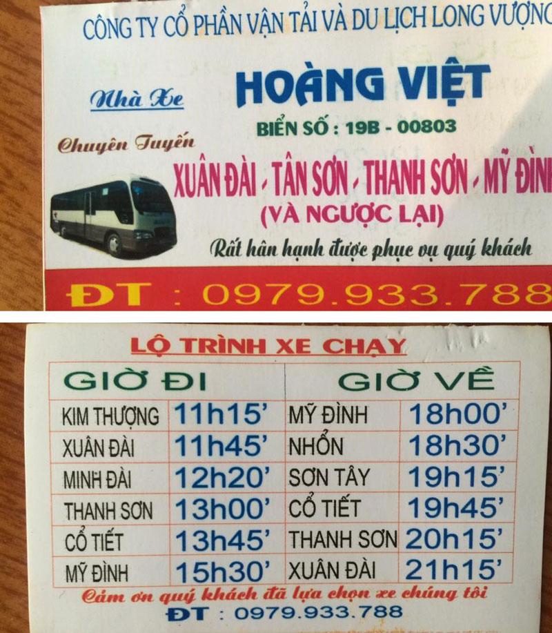 Nhà xe Hoàng Việt (Xuân Đài, Tân Sơn - Mỹ Đình, Hà Nội)