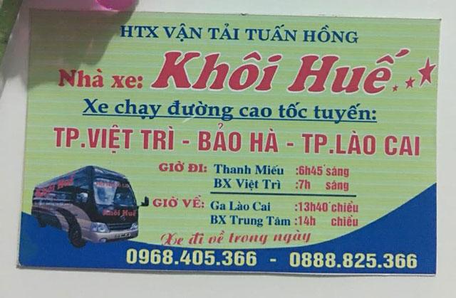 Nhà xe Khôi Huế (Việt Trì - Lào Cai)