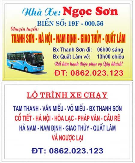 Nhà xe Ngọc Sơn (Thanh Sơn - Nam Định)