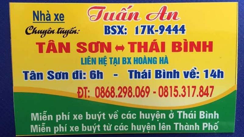 Nhà xe Tuấn An (Tân Sơn - Thanh Sơn - Thái Bình)