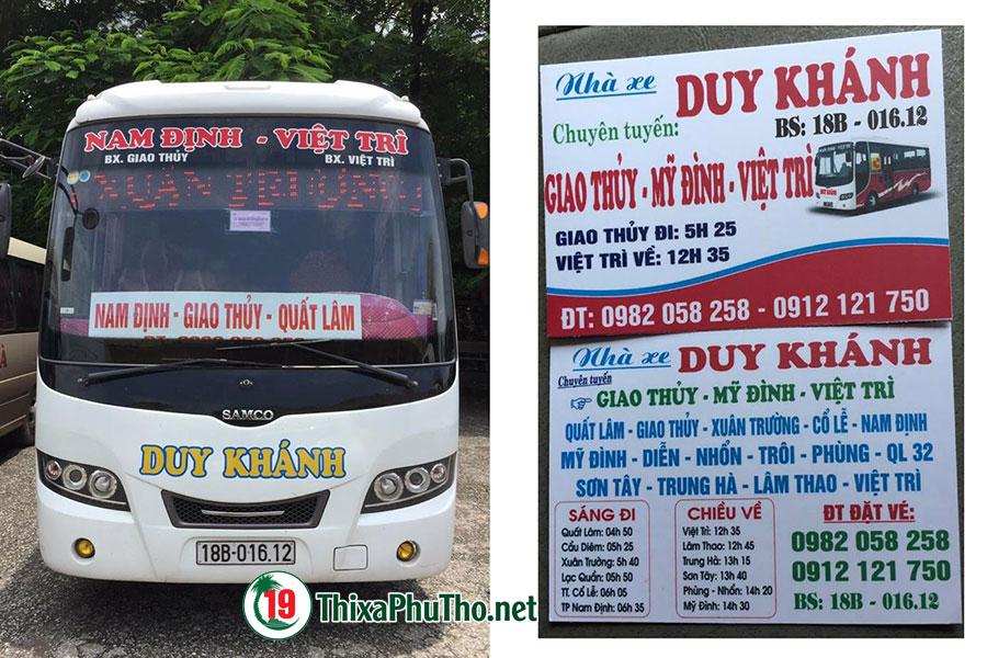 Xe Khách Duy Khánh: Nam Định - Việt Trì