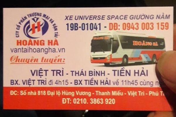 Xe khách Hoàng Hà: Việt Trì - Thái Bình