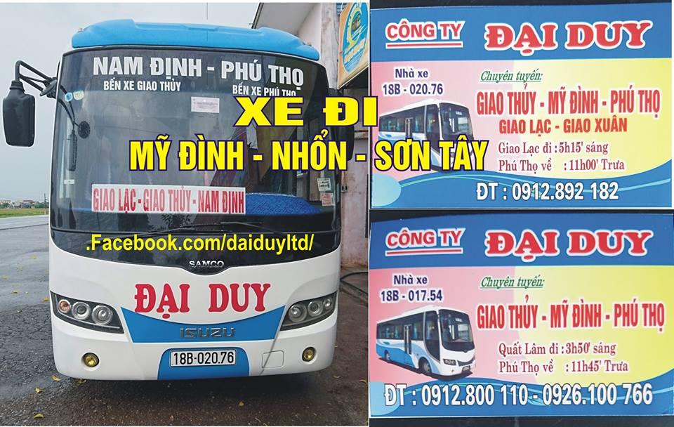 Xe khách Đại Duy: Nam Định - thị xã Phú Thọ