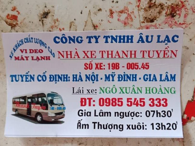 Nhà xe Thanh Tuyền (Ấm Thượng - Mỹ Đình - Gia Lâm)