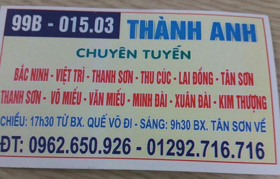 Nhà xe Thành Anh: Bắc Ninh - Thanh Sơn - Tân Sơn - Phú Thọ