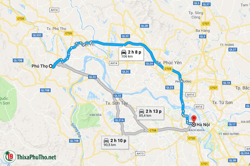 Những cách đi từ Phú Thọ đến Hà Nội