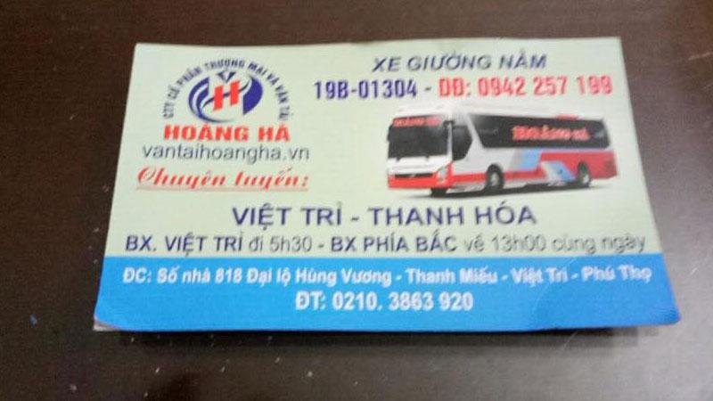 Xe khách Hoàng Hà, Việt Trì đi Thanh Hóa