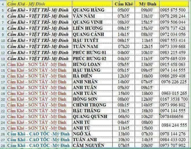 Danh sách xe khách Cẩm Khê đi Hà Nội