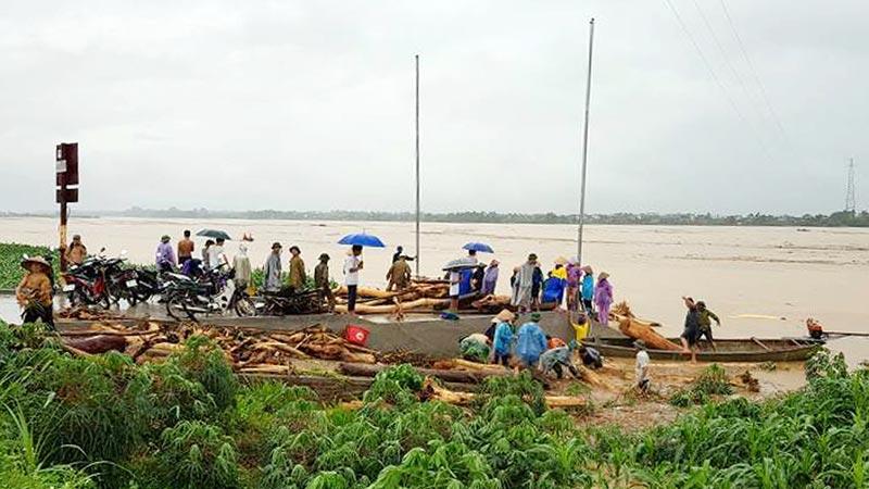 Người dân Phú Thọ ra sông Hồng vớt gỗ giữa dòng nước lũ