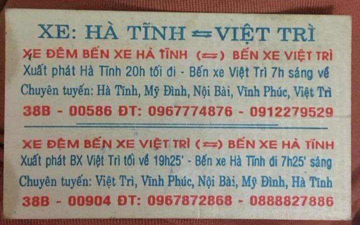 Xe khách Dũng Thu, Hà Tĩnh đi Việt Trì