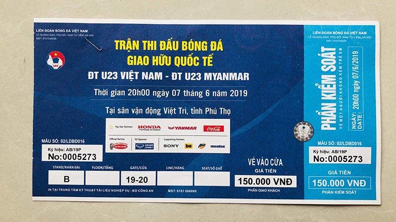 Vé xem bóng đá U23 Việt Nam vs U23 Myanmar