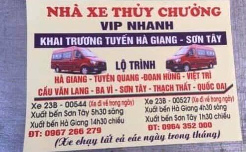 Nhà xe Thủy Chưởng (Hà Giang - Việt Trì - Sơn Tây)