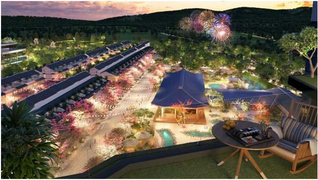 Một góc view công viên khoáng nóng trong tổ hợp giải trí và nghỉ dưỡng 5 sao Wyndham Lynn Times Thanh Thủy.